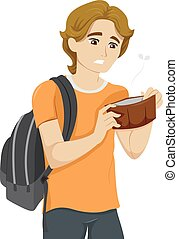 Teen Guy Empty Wallet - Illustration of a Teenage Boy with...