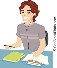 Teen Guy School Study - Illustration of a Teenage Boy...