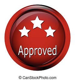 Approved and stars on red button