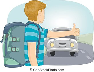 Teen Boy Hitch Hiking - Illustration of a Teenage Boy...