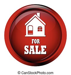Home for sale icon on red circle button