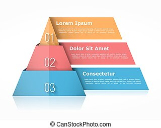 Pyramid Chart Three Elements - Pyramid chart with three...