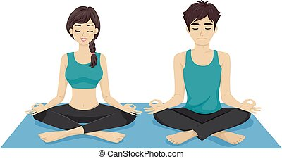 Teen Couple Yoga - Illustration of a Teenage Couple Doing...
