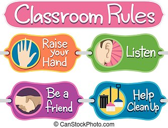 Classroom Rules Bulletin Elements - Illustration of Ready to...