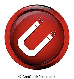 Magnet icon illustration - Magnet icon on red button...