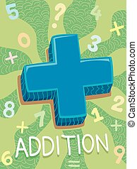 Math Addition Symbol Design - Illustration Featuring the...