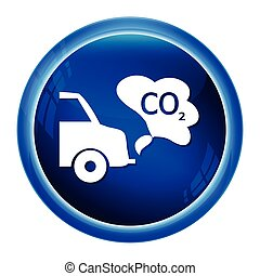 Cars exhaust smoke icon on blue button