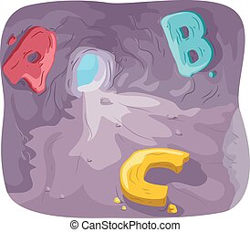 Cave Alphabet - Illustration of a Cave with Letters of the...