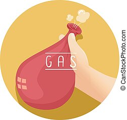 Hand Hold Gas Balloon - Illustration of a Kid Holding a...
