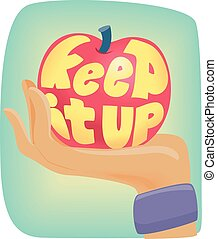Apple Keep It Up Sweatband - Typography Illustration...