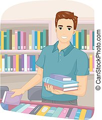 Man Bookstore Books - Illustration of a Man Picking Books at...
