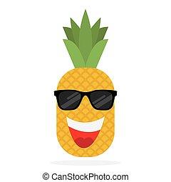 Happy pineapple in sun glasses.