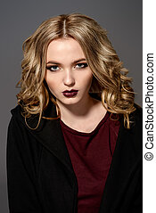 dark lipstick - Attractive fashion girl with dark make-up...