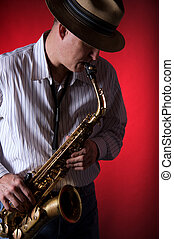 saxofone, jogador, vermelho