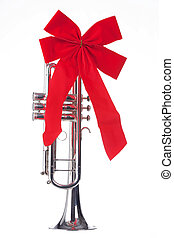 Christmas Trumpet with Bow Isolated - A Christmas silver...