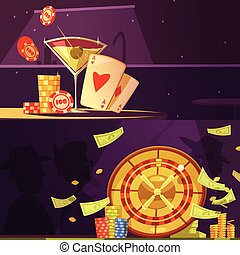 Casino Color Banners - Color cartoon banners depicting...