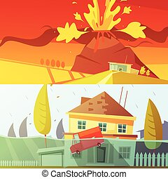 Natural Disaster Banners - Color cartoon horizontal banners...
