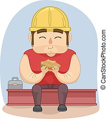 Man Construction Worker Lunch Sandwich - Illustration of a...