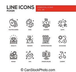 Poker - line design icons set - Poker - modern vector plain...