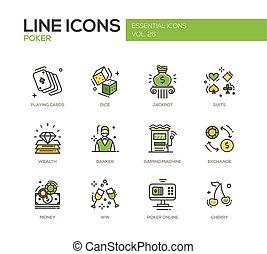 Poker - line design icons set - Poker - modern vector line...
