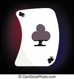 Ace of clubs playing card icon, cartoon style - icon in...