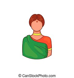Indian woman in traditional Indian sari icon - icon in...
