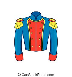 French historical uniform of soldier icon - icon in cartoon...