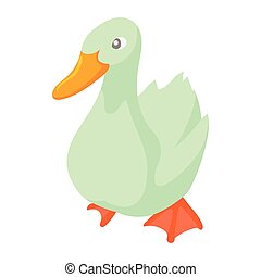 White goose icon in cartoon style - icon in cartoon style on...