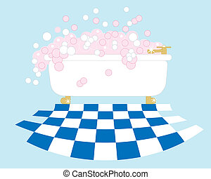 bubble bath - an illustration of a bathroom with a gleaming...