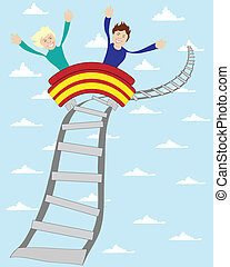roller coaster ride - vector illustration of two teenage...
