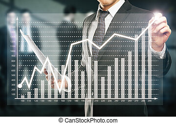Businessman drawing business chart - Businessman drawing...