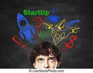 Start up concept - businessman and drawing Start up concept...