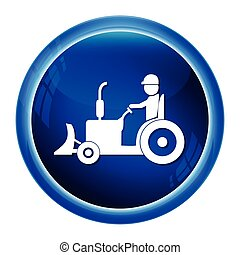 Tractor and driver icon, Agriculture tractor icon