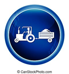 Tractor and driver with cart icon, Agriculture tractor with cart icon