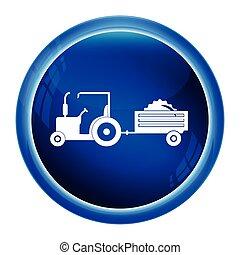 icono, Agricultura,  tractor, carrito, icono