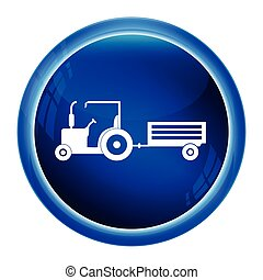 Tractor and cart icon, Agriculture tractor with cart icon