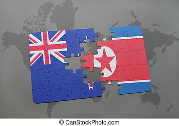 puzzle with the national flag of new zealand and north korea...