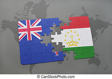 puzzle with the national flag of new zealand and tajikistan...