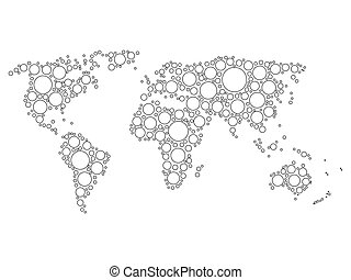 World map mosaic of white dots with black outline in various...