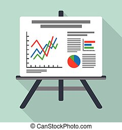 Flipchart, whiteboard screen with marketing data -...