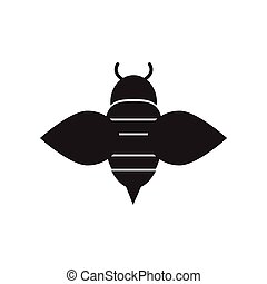flat icon in black and white style Honey bee