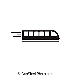 flat icon in black and white style high-speed train