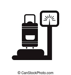 flat icon in black and white style Luggage weighing