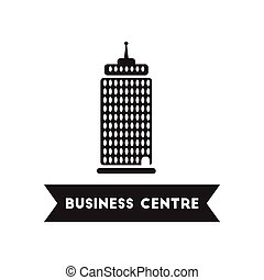 flat icon in black and white style building business Centre