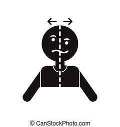 flat icon in black and white style attack stroke face - flat...