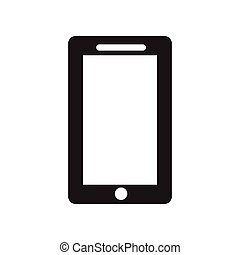 flat icon in black and white style mobile phone
