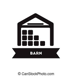 flat icon in black and white style building barn - flat icon...