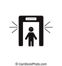 flat icon in black and white style people scanner
