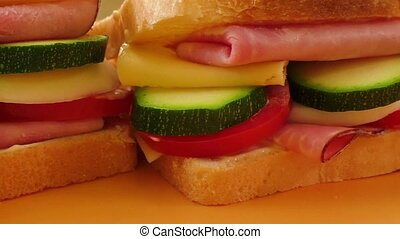 Sandwich with ham, cheese, mayonnaise, tomato, radish,...