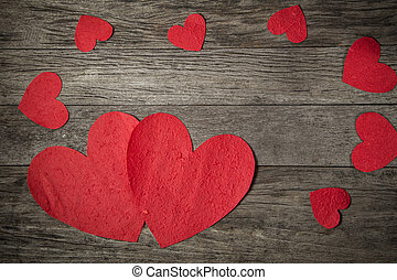 valentines day background  on wooden background